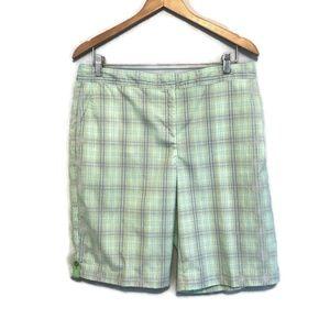 Izod Cool-FX PerformX Green Plaid Golf Shorts